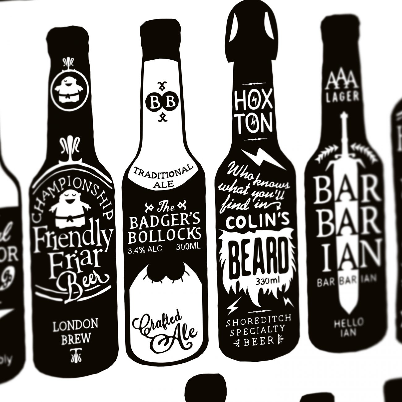 typographic beer bottles close up