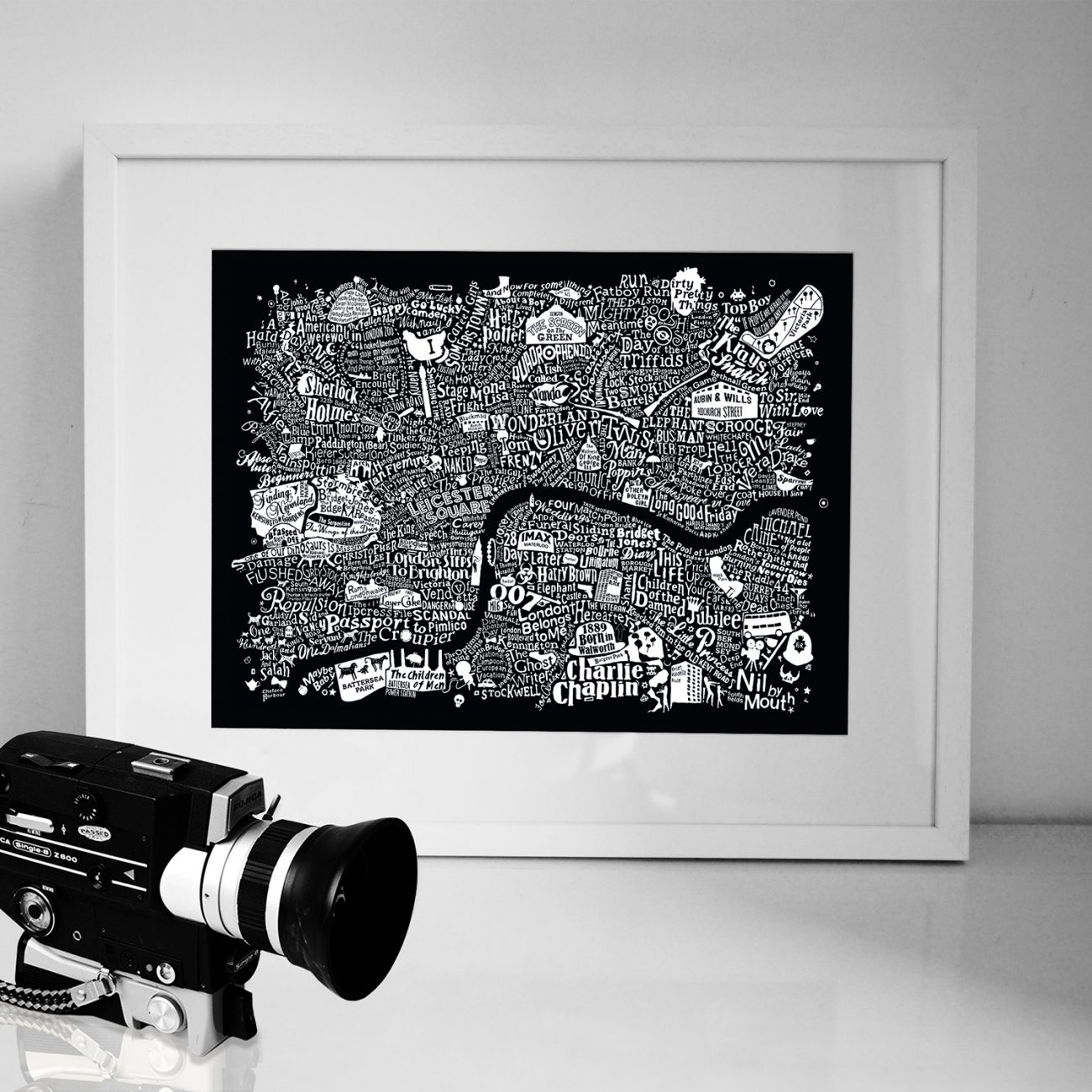 Central London film map in a frame