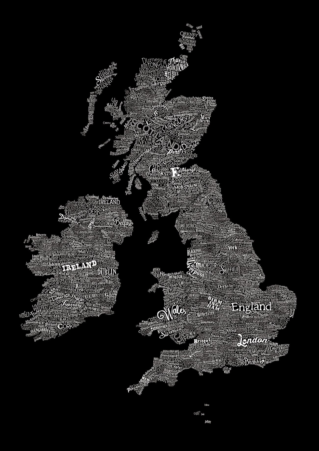A typographic map of britain