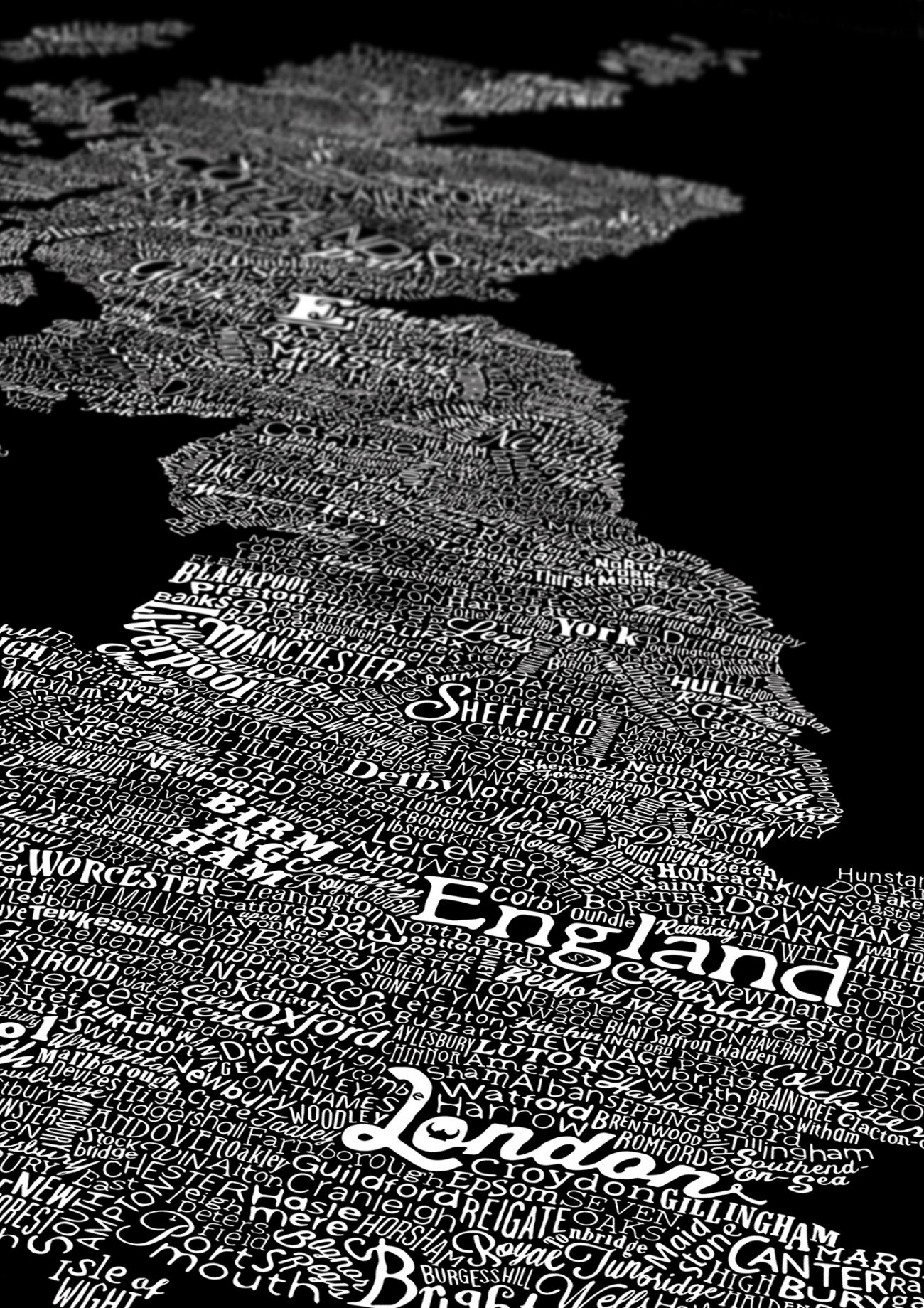 type map of england