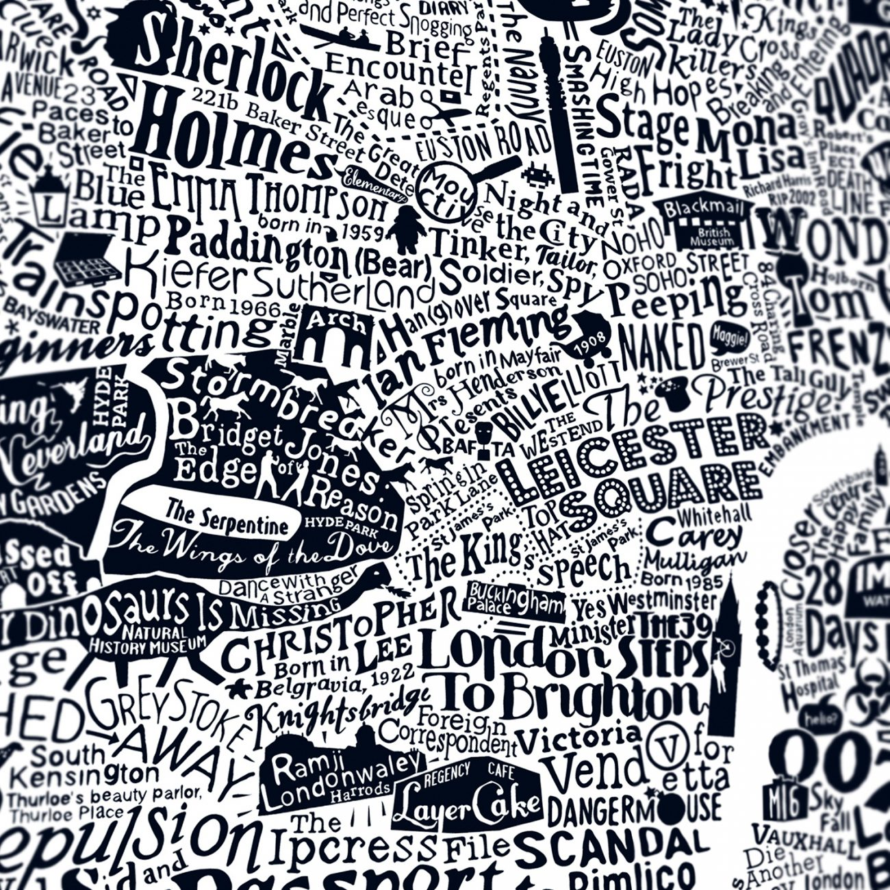 Typographic film map of london